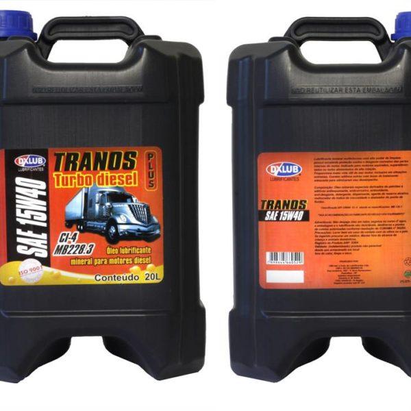 Lubrificante DXLUB Tranos Turbo Diesel Plus SAE 15w40 API CI-4 Balde 20 Litros